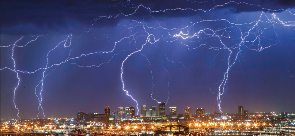 lightning from monsoon flashes through downtown tempe