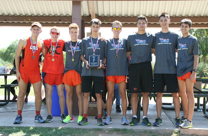 Corona's senior boys took first place in the senior class division at the Chandler Cross Country Invitational held Saturday, Sept. 3, at Tumbleweed Park. Team includes, from left, Tyler Thompson, Daniel Bish, Josh Whitney, Liam Kovatch, Slade Summers, Anthony Sarno, Scott Carpenter and Alex Wylde. (Photo for Wrangler News by Cheryl Thompson)