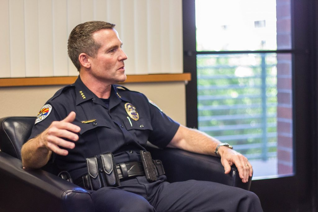 Chandler Chief of Police Sean Duggan sat down with Wrangler News to discuss the impact of social media and officer-involved shootings. (Wrangler News photo, Alex J. Walker)