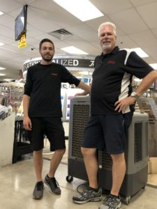 father and son together again in the hardware store