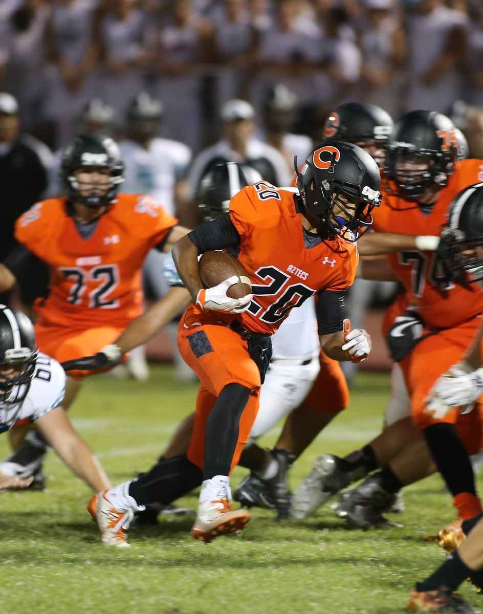 No. 20, Jalen Bryant, carried the ball eight times against Highland, scoring the only rushing touchdown.