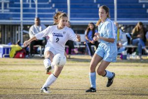 Lona Fitzgerald takes a shot  on goal during the game against Horizon Honors.