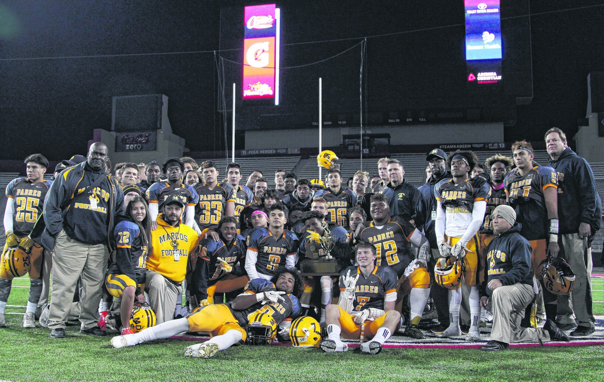 The Marcos de Niza varsity football team. Wrangler News photo by Ana Ramirez