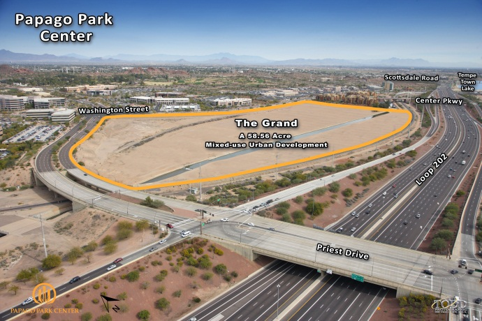 The 58-acre site where The Grand will be built is just minutes from Downtown Tempe, Downtown Phoenix and Sky Harbor International Airport.