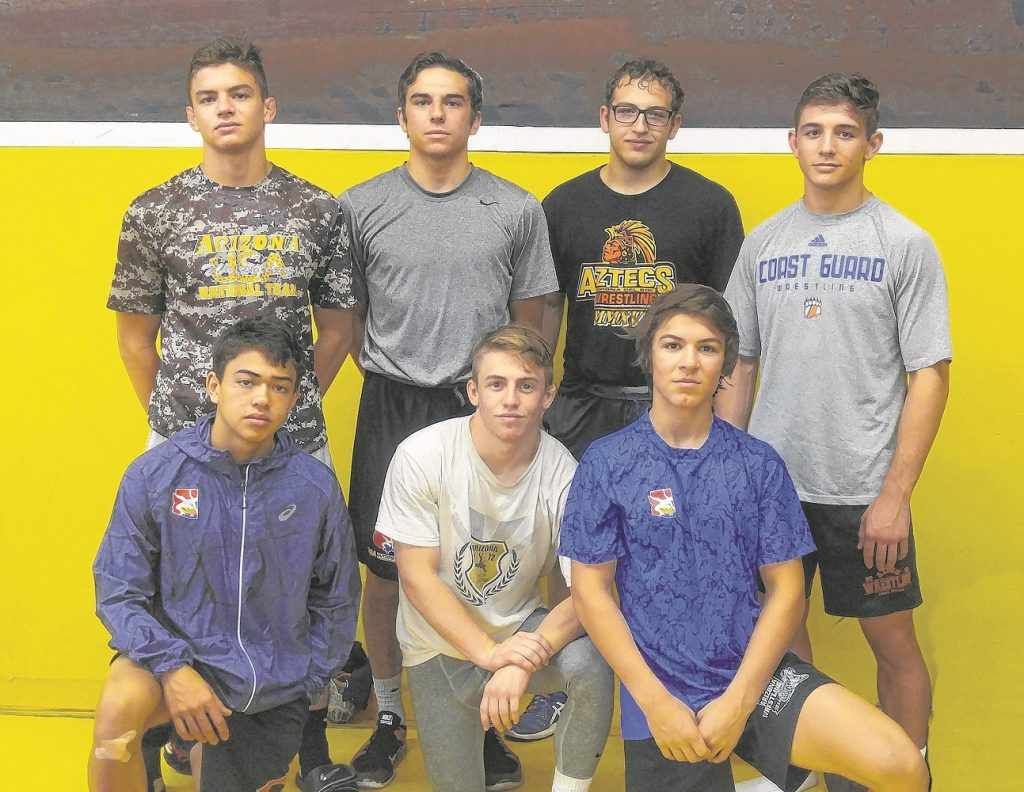 Corona has seven wrestlers competing at the ASICS National Championships in Fargo, N.D., July 16-23. Front row, from left: Cam Upshur, Cole Bernstein, Jacob Garcia Back: Vincent Dolce, Hunter Carmona, Nick Ruffalo, Brandon Konecny. — Photo courtesy Jim Martinez