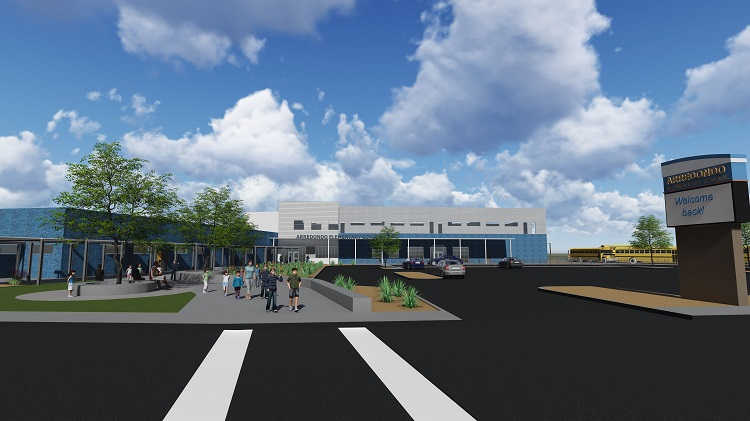 Architectural rendering of $11.8 remodel to Arredondo Elementary, funded by voter-approved bonds.