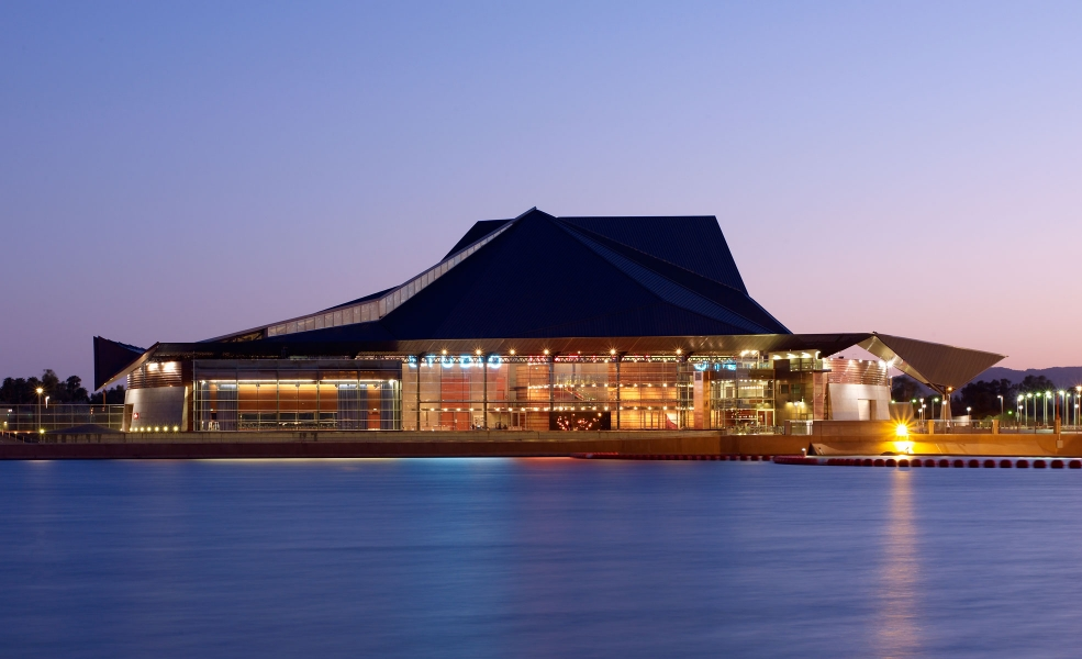 Tempe Center for Arts at dusk in front of Tempe Town Lake