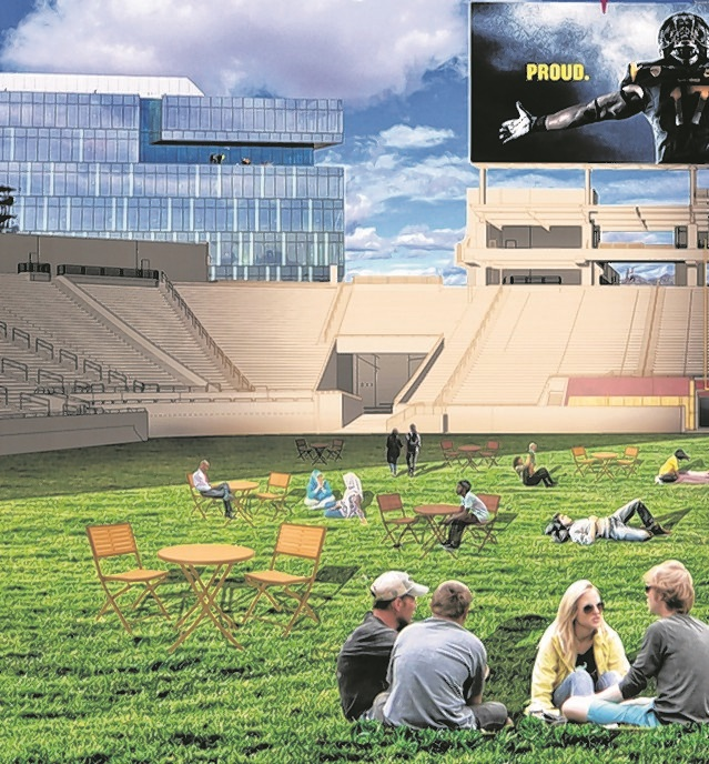 Rendering suggests how Sun Devil Stadium might look if it were transformed into a multi-use venue that could appeal to a wide range of ages, interests. (Photo illustration courtesy of Patrick Griffin)