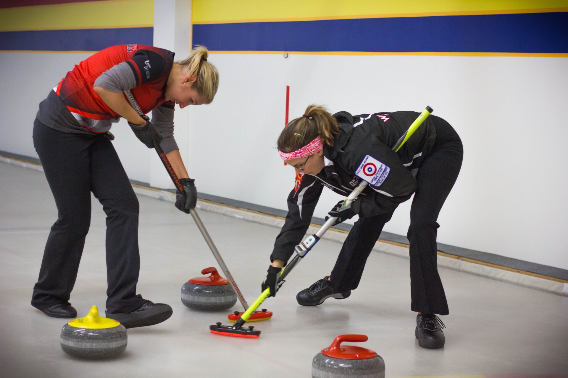 Members of Coyotes Curling Club hone their skills at Tempe Ice rink. Wrangler News photo by Alex J. Walker
